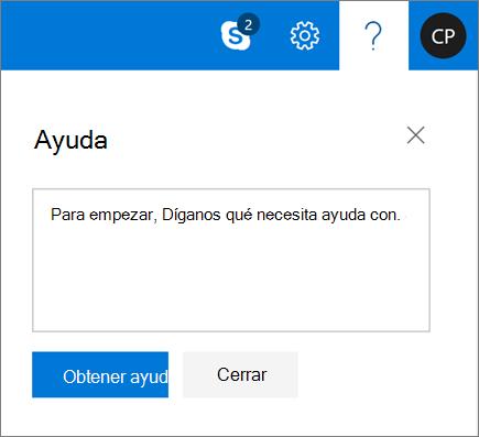 Una captura de pantalla muestra el cuadro de diálogo de Ayuda, donde puede especificar información sobre un problema y, después, seleccionar el botón Obtener ayuda.