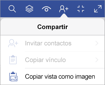Opciones de uso compartido en el Visor de Visio para iPad
