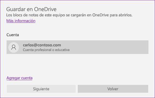 Captura de pantalla del mensaje de confirmación en OneNote para guardar en OneDrive