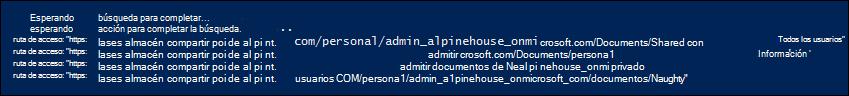 Ejemplo de la lista de nombres de ruta de acceso para las carpetas de sitio devueltos por la secuencia de comandos
