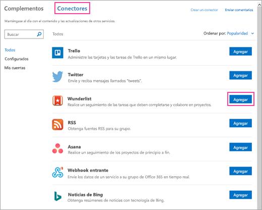 Captura de pantalla de los servicios conectados disponibles en Outlook 2016