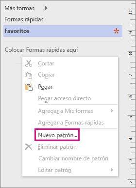 Haga clic con el botón derecho en la ventana Formas, debajo de la lista de galerías de símbolos, y haga clic en Nuevo patrón.