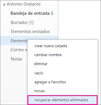 Ruta de acceso del menú para obtener acceso al cuadro de diálogo Recuperar elementos eliminados en Outlook Online