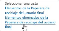 Papelera de reciclaje de SharePoint 2013 con Eliminar de usuario resaltado