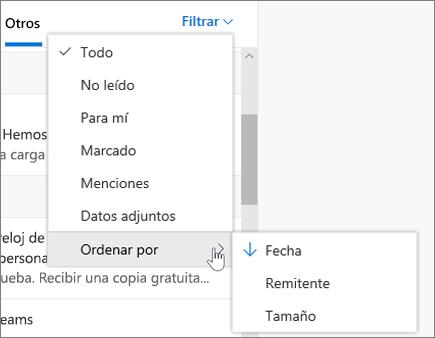 Filtrar correos electrónicos en Outlook en la Web