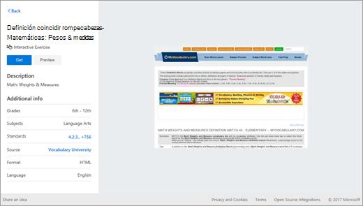 Resultado de búsqueda de recursos de educación en OneNote