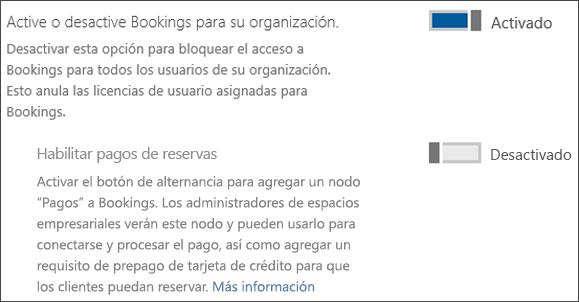 Captura de pantalla: que muestra el control de administrador de reservas desde la página de servicios y complementos