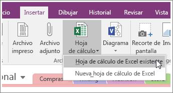 Captura de pantalla del botón Insertar hoja de cálculo en OneNote 2016.
