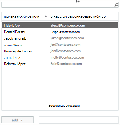 Captura de pantalla: Escriba para buscar o seleccione un usuario de la lista