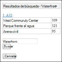 Resultados de la búsqueda en el visor de Excel para móvil