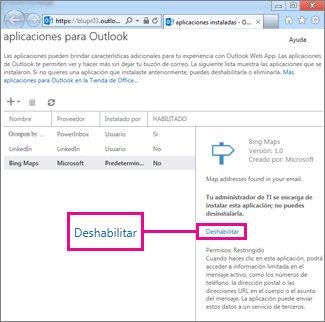 Deshabilitar una aplicación para Outlook