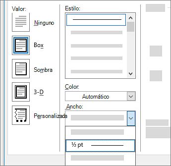 Configuración de borde de página