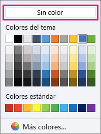 Opciones de color de sombreado con la opción Sin color resaltada.