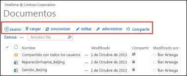 Utilice la Barra de comandos rápidos de Office 365 para iniciar actividades en OneDrive para la Empresa o en la biblioteca de documentos del sitio de grupo de SharePoint Online.
