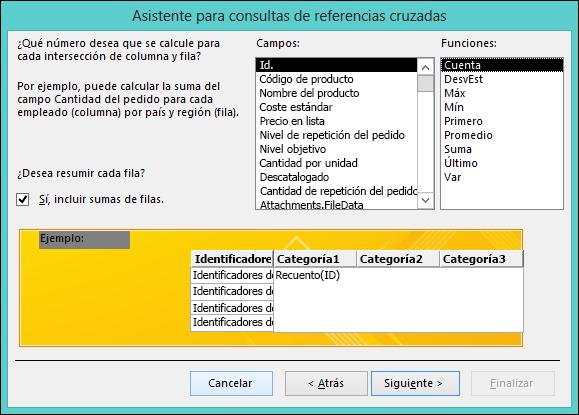 Seleccione un campo y una función para calcular en el Asistente para consultas de referencias cruzadas.