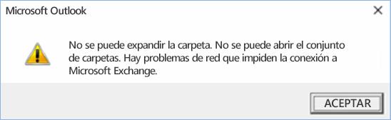 Error de Outlook 2016: no se puede expandir la carpeta.