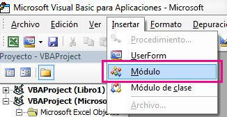 En el menú Insertar, haga clic en Módulo.