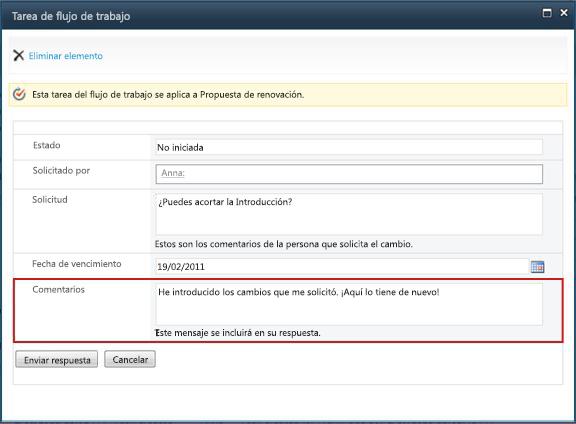 El formulario se envía cuando se ha completado el cambio solicitado
