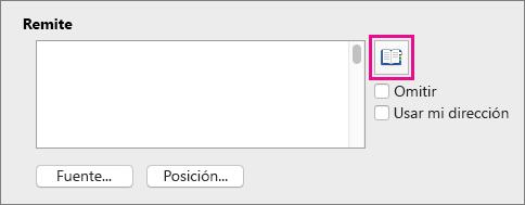 Desactive Usar mi dirección y haga clic en Insertar dirección para elegir entre sus contactos una dirección de devolución.