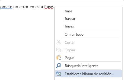 Opción Establecer idioma de revisión del menú de botón secundario para palabras con errores tipográficos