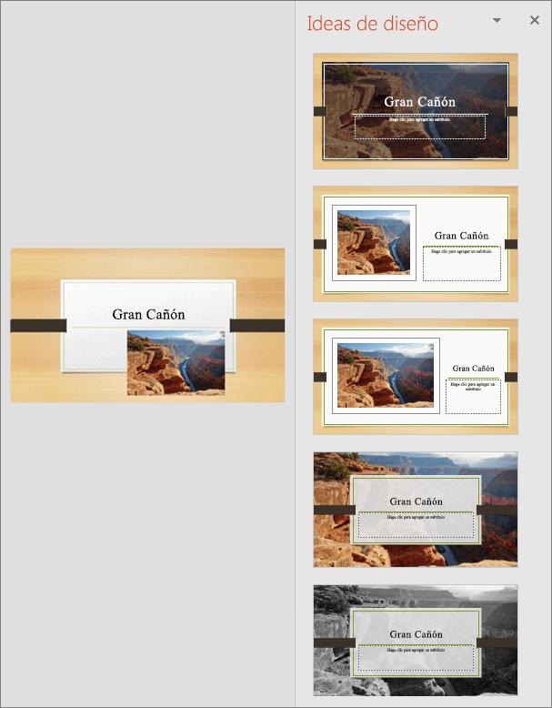 Muestra un ejemplo de la pestaña Ideas de diseño de PowerPoint