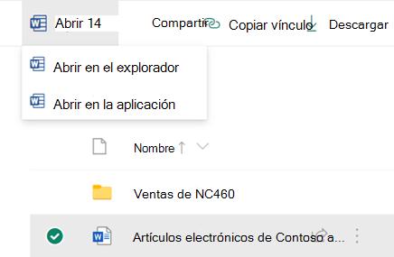 Puede abrir un archivo en el explorador o en la aplicación de escritorio de Office.