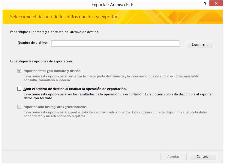 Seleccione un destino y las opciones de exportación en el cuadro de diálogo Exportar: archivo RTF.