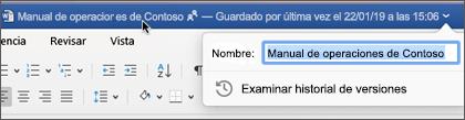 Hacer clic en el título del documento le permite cambiar el nombre del archivo o ver el historial de versiones