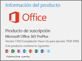 Versión y número de compilación en Información del producto