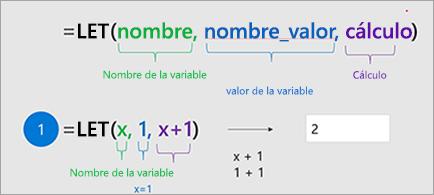 Muestra la función LET en Excel