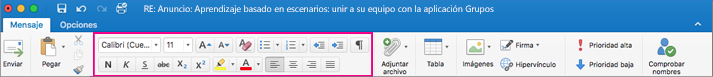 Opciones de formato en la cinta de opciones en Outlook para Mac
