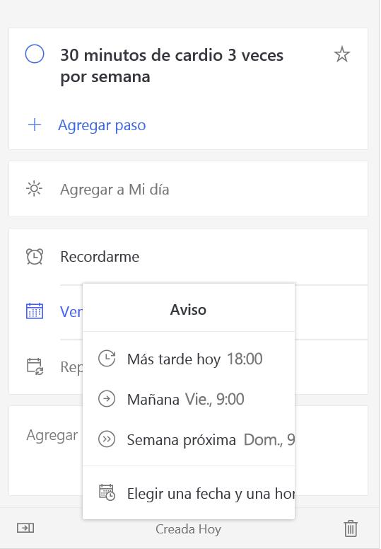"""Captura de pantalla donde se muestra la vista de detalles con la opción """"Recordarme"""" seleccionada"""