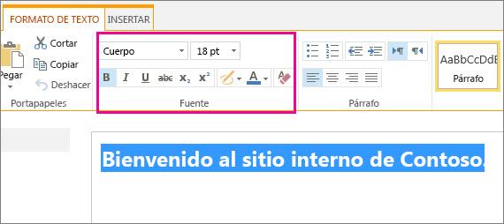 Usar los controles de fuente de la parte superior de la página para dar formato a los mensajes de bienvenida