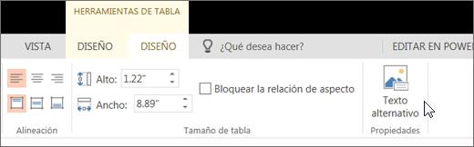 Captura de pantalla que muestra la pestaña Diseño de Herramientas de tabla con el cursor apuntando a la opción Texto alternativo.