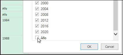 Power Query - Editor de consultas > filtro para limpiar los datos
