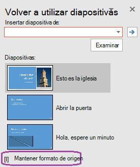 """Seleccione la opción """"Mantener formato de origen"""" Si desea que las diapositivas insertadas para mantener los estilos utilizados en la presentación original."""