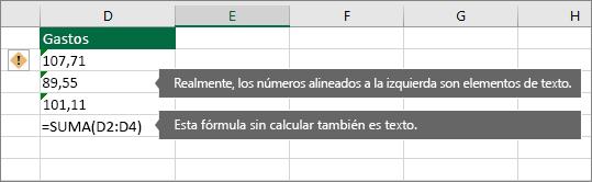 Celdas con números almacenados como texto con triángulos verdes