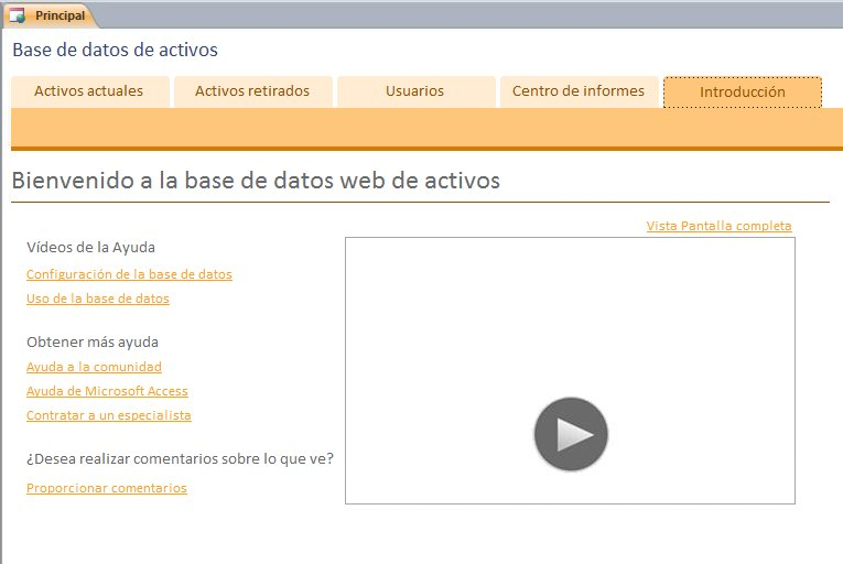 Base de datos web de activos