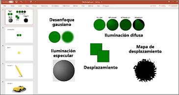 Diapositiva con ejemplos de filtros SVG
