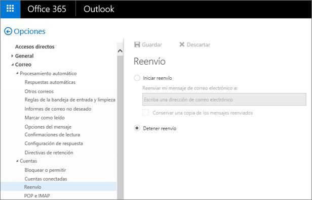 La captura de pantalla muestra la página de la opción Reenvío con la opción Detener el reenvío seleccionada.