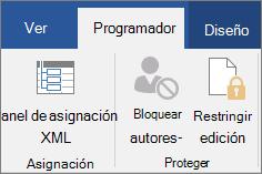 En la ficha Programador, en el grupo proteger, haga clic en Restringir edición