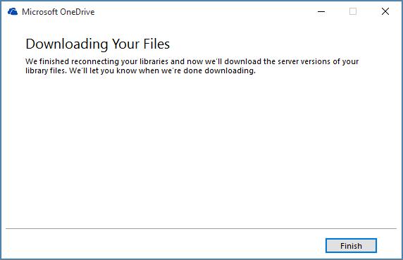 Cuadro de diálogo de reparación final de sincronización de OneDrive para la Empresa