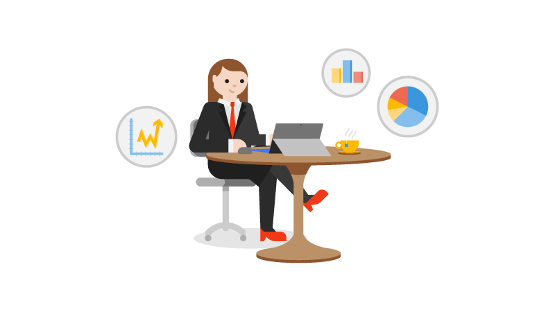Ilustración de una mujer sentada en un escritorio con un portátil