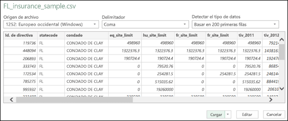 Cuadro de diálogo Conector para TEXT/CSV mejorado en Power BI para Excel