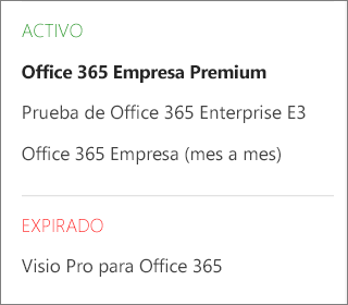Página Suscripciones del Centro de administración de Office 365 que muestra una lista de varias suscripciones agrupadas por su estado.