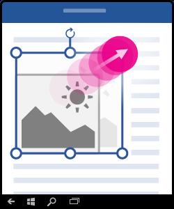 Imagen que muestra cómo arrastrar esquinas para cambiar el tamaño de objetos e imágenes.