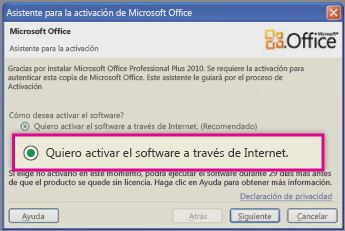 Activar el software a través de Internet