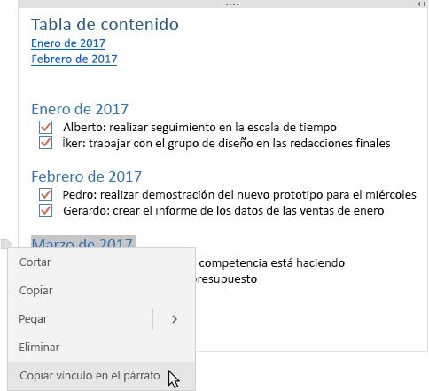 Muestra una nota con una tabla de contenido y un menú contextual en el que se muestra cómo se copia un vínculo.