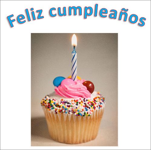 Ejemplo de WordArt con una imagen y las palabras Feliz cumpleaños