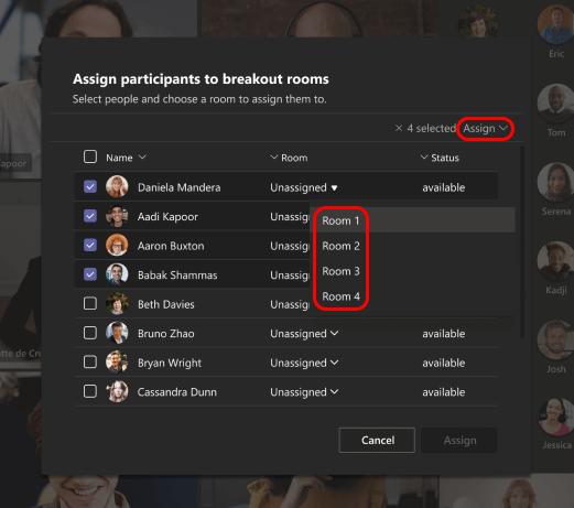 Imagen que muestra cómo seleccionar salas de reuniones para los participantes.